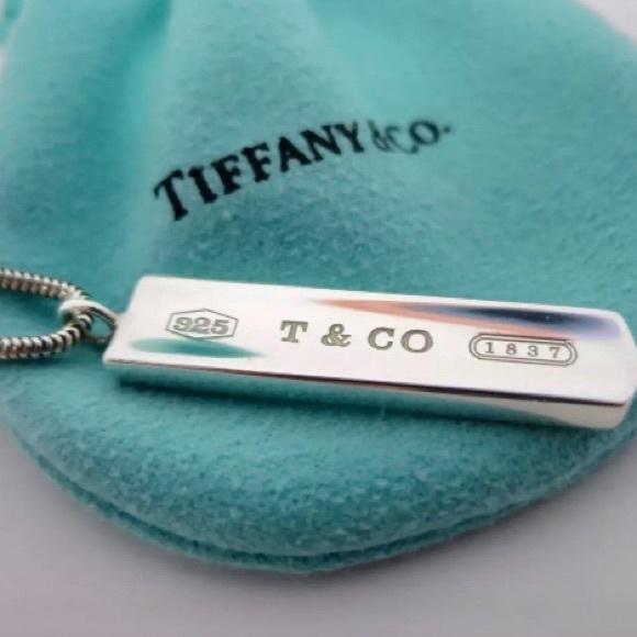 "cf9eeb3cc Tiffany & Co. 1837 Bar Pendant on 18"" Snake Chain.  M_5ccc6b908557afa68a429d7c"